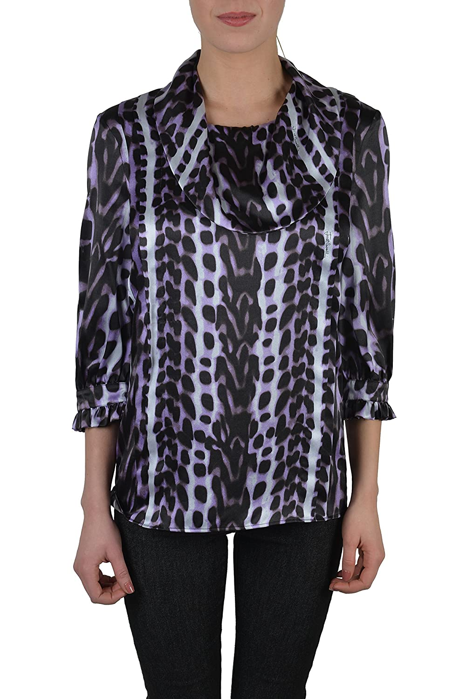Just Cavalli Women's Multi-Color 100% Silk Animal Print Blouse Top US S IT 40