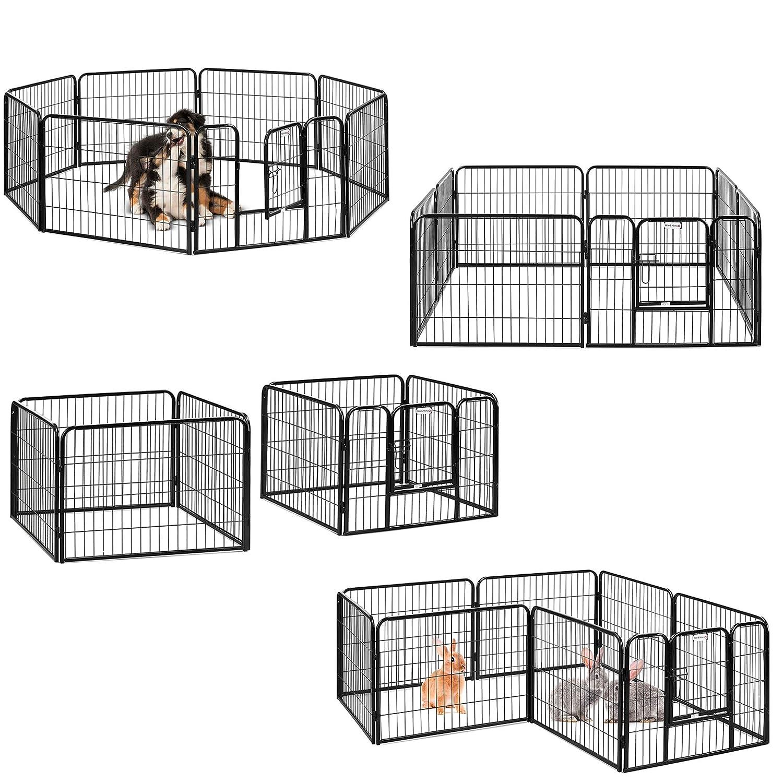 Black 8 Pc 80x60 Black 8 Pc 80x60 Milo & Misty Heavy Duty Playpen. 8 Panel Folding and Portable Outdoor Cage for Dog, Puppy, Rabbit, Guinea Pig. Modular Pet Enclosure. (80 X 60cm)