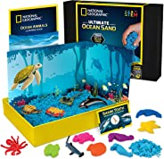 NATIONAL GEOGRAPHIC Ocean Play Sand - 2 Pounds of Play Sand, 6 Molds, 6 Ocean Animal Figures, Activity Tray, A Kinetic Senso