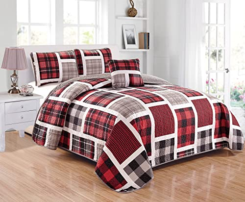 Fancy Linen Bedspread Set Coverlet with Cushion Reversible Elegant Stripes Plaids Red Black Grey White Glen Plaid Full Queen Size New