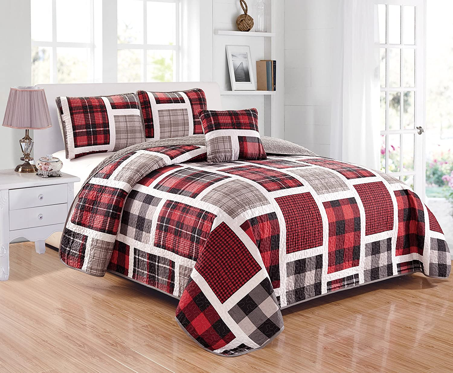 Linen Plus Full Size 4pc Quilted Bedspread Set for Teen Boys Patchwork Plaid Red Grey Black White New