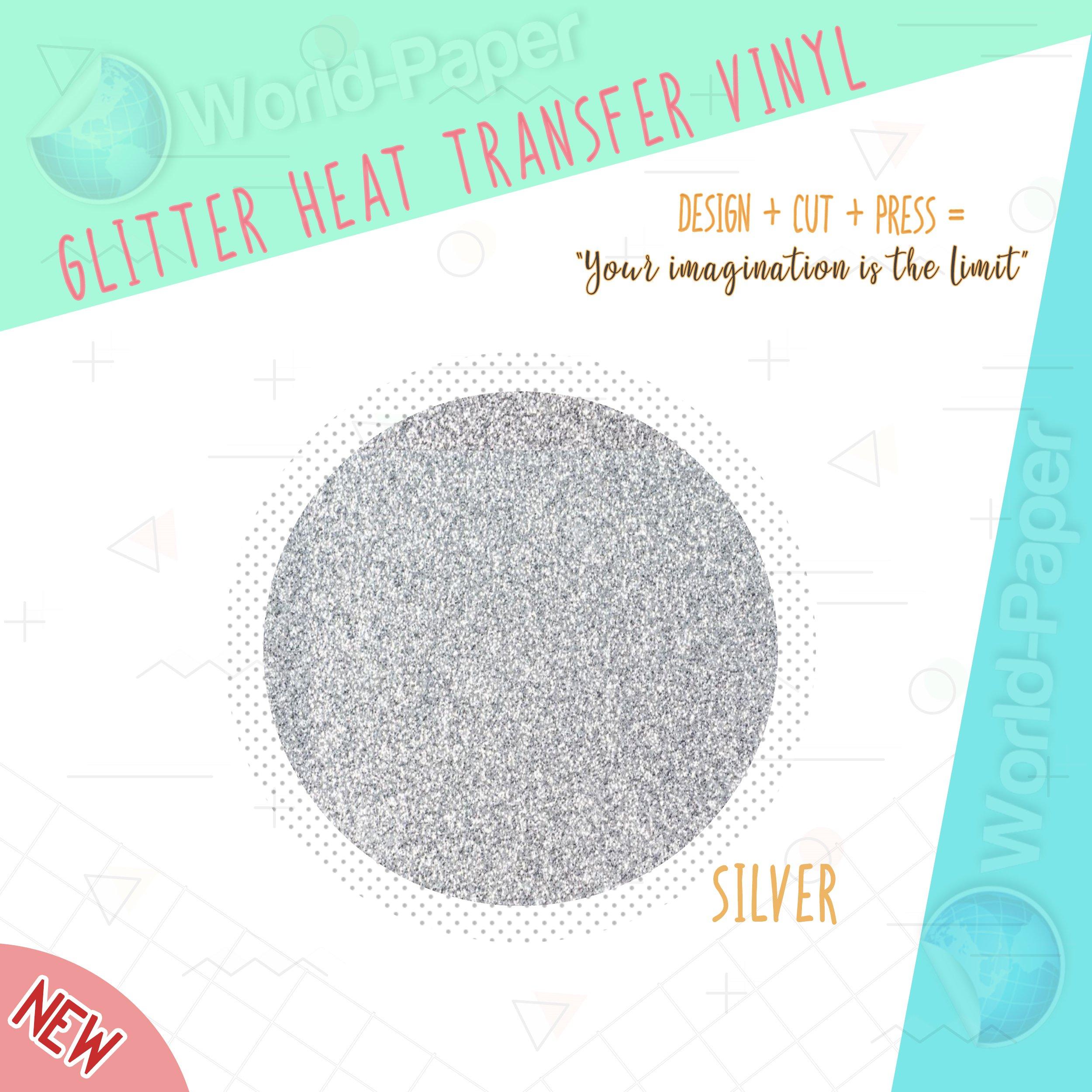 Glitter Heat Transfer Vinyl Full Roll 20'' -SILVER- IRON-ON HTV