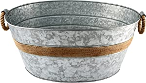 Cambridge Silversmiths Shiloh Galvanized and Rope Beverage Tub, Stainless Steel