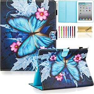 Dteck iPad Case, iPad 2/3/4 Case, PU Leather Stand Case Auto Sleep/Wake Function [Card Slot] Flip Protective Shell Magnetic Closure Wallet Cover for Apple iPad 2 3 4 - Blue Butterfly&Pink Flower
