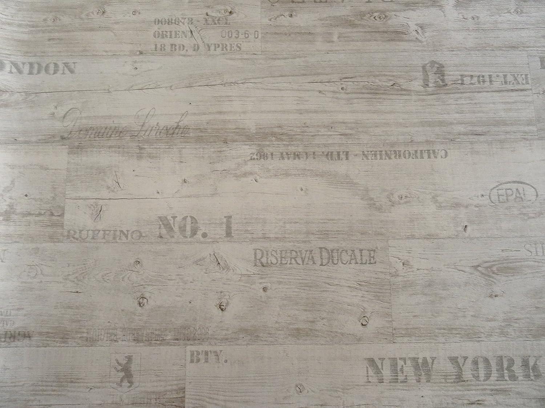 wei/ß PVC mit Schriftz/ügen L/änge: 400 cm, Breite: 300cm von Alpha-Tex 9.95/€//m/²