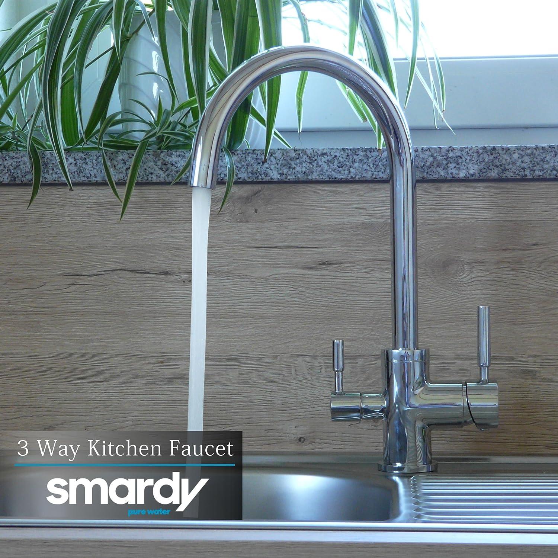 smardy DUO301 Ca/ño Giratorio 360/° Grifo 3 Vias para osmosis inversa Agua Purificada Mangueras Conexi/ón 3//8 RO