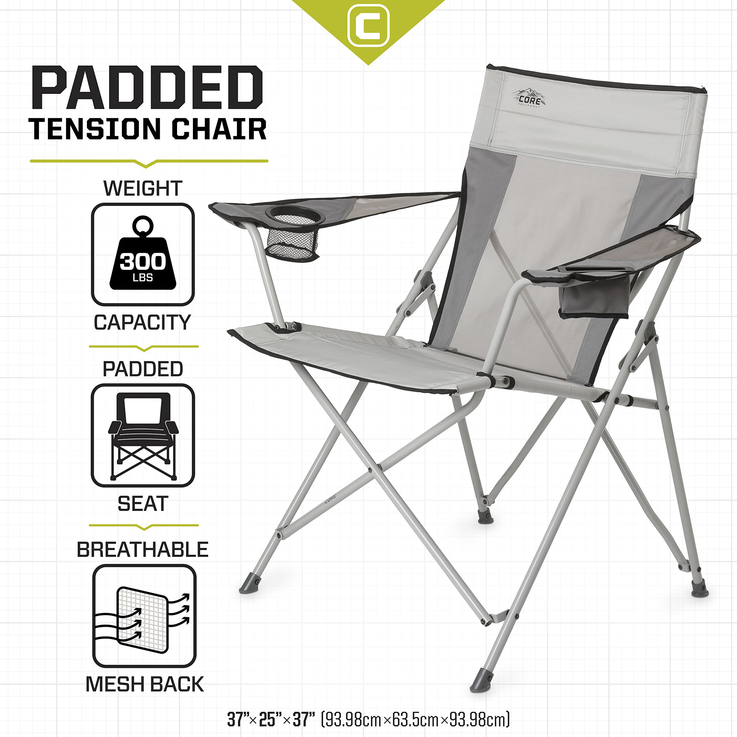 CORE Equipment Tension Chair with Carry Bag, Gray by CORE (Image #1)