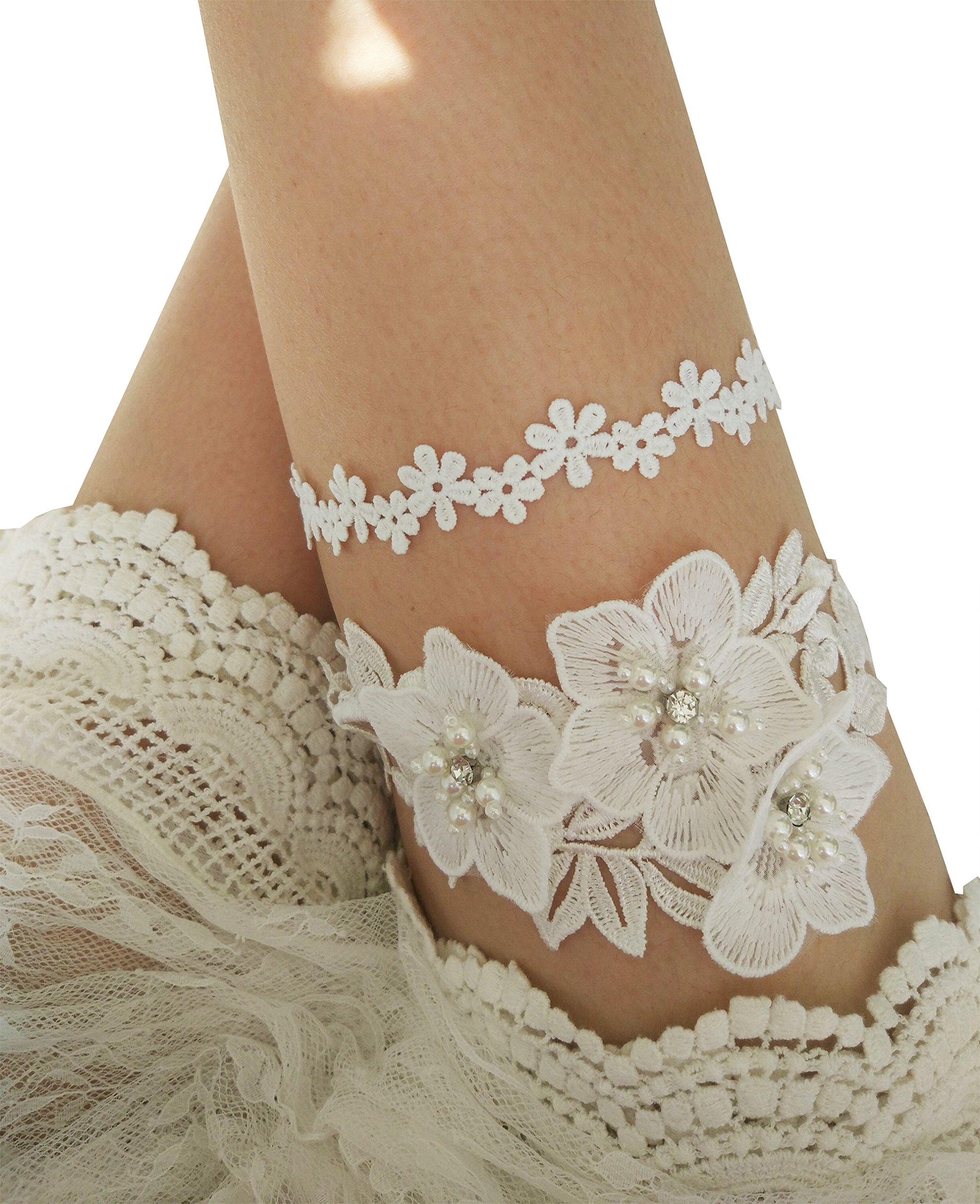 YuRong Wedding Garter Set Rhinestone Bridal Pearls Garter Set Floral G31 (Ivory)