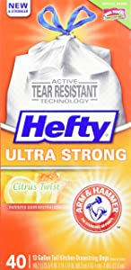 Hefty Ultra Strong Tall Kitchen Drawstring Trash Bag, Citrus Twist, 40 Count