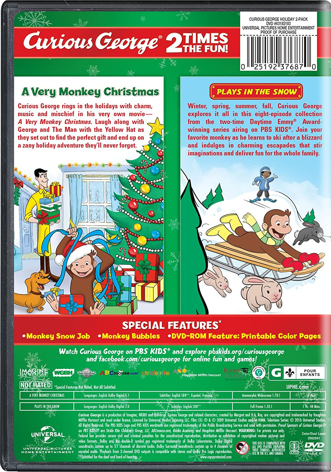 amazon com curious george holiday 2 pack a very monkey