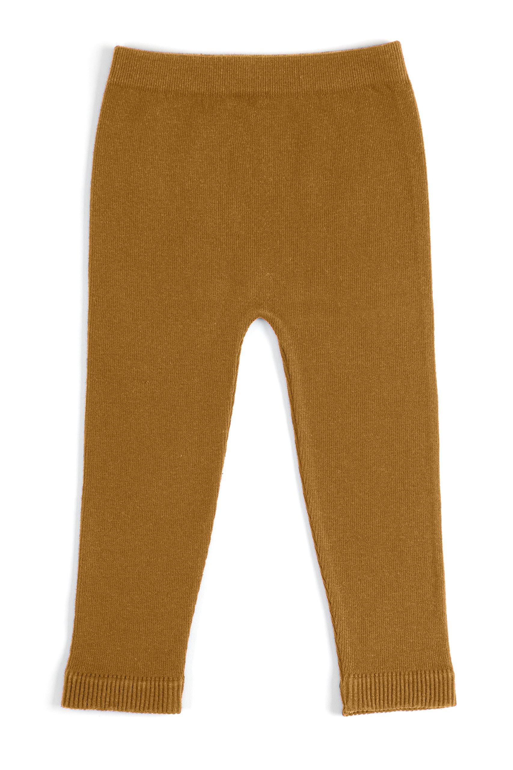 EMEM Apparel Unisex Boys Girls Baby Toddler Medium Weight Seamless Cotton Full Ankle Length Leggings Cognac 2T-4T