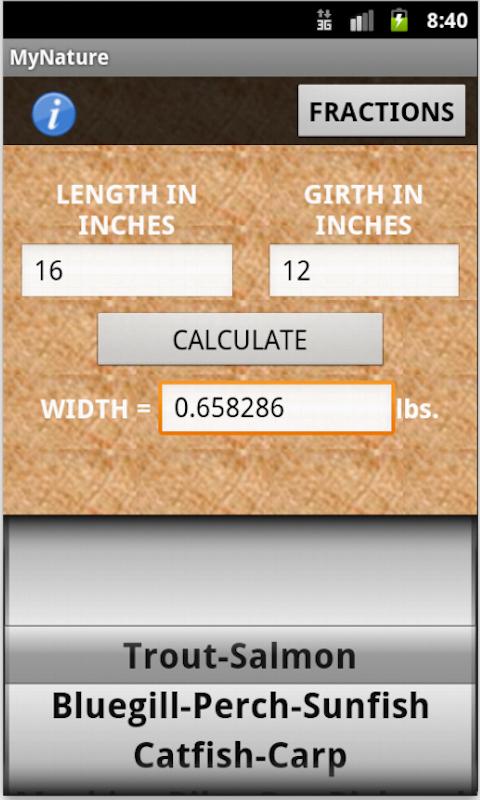 Mynature fish weight calculator appstore for for Fish weight calculator
