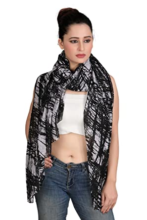 f4fe834a5569 Verismo Scarf Soft Polyester Quality Abstract Printed Beautiful big Stole .  black and white color to get ...