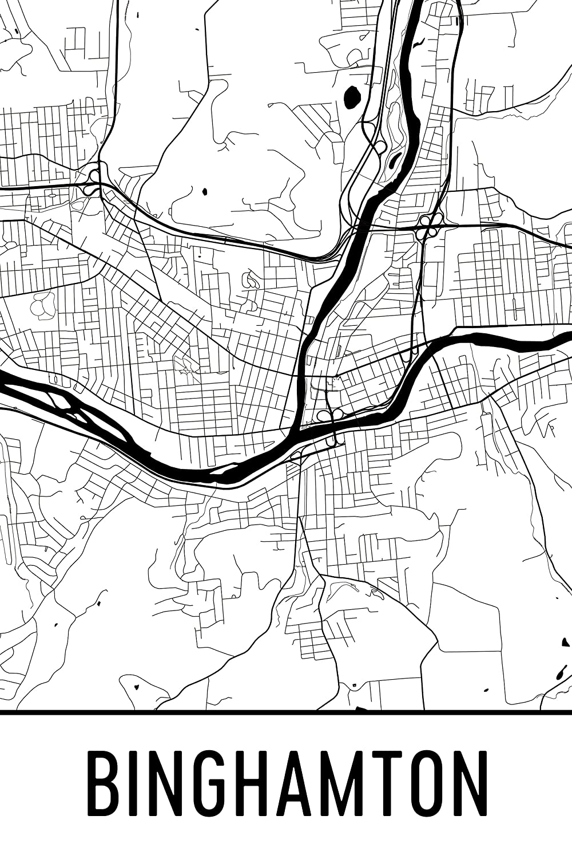 Amazon.com: Binghamton Print, Binghamton Art, Binghamton Map ...
