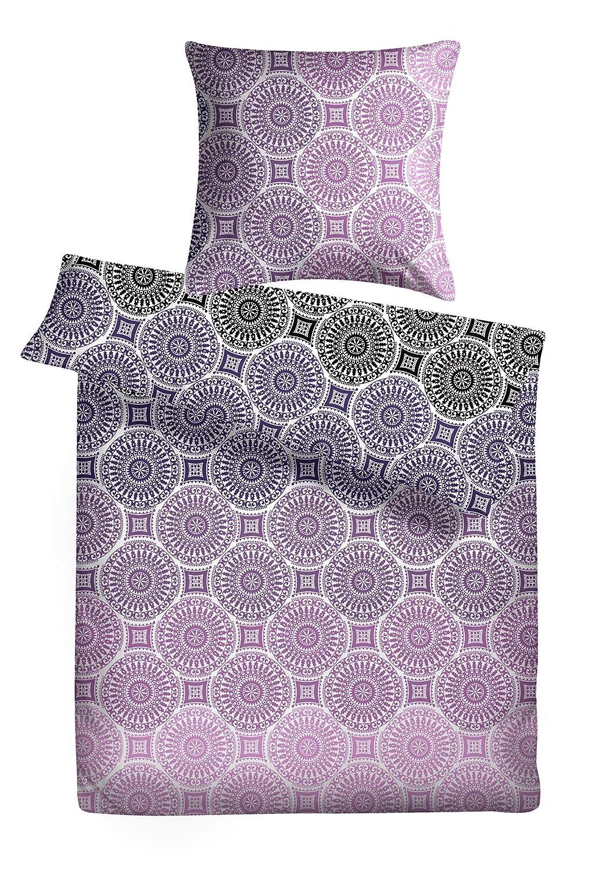 Carpe Sonno warme Winterbettwäsche 200 x 220 cm in lila mit Ornamenten Biberbettwäsche mit Reißverschluss aus 100% Baumwolle Flanell - 3-TLG Bettwäsche Set mit 2 Kopfkissenbezügen