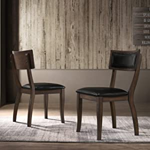 Roundhill Furniture Havre Wood Upholstered Dining Chairs, Set of 2, Burnished Oak