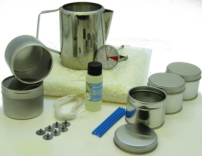 Kit para hacer velas con cera de soja:5 latas, fragancia, 500 g de cera de soja, jarra y termómetro.: Amazon.es: Hogar