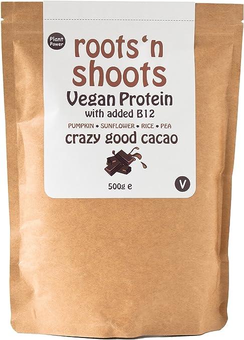 Bebida de Proteínas Vegana con B12 Agregado, 500g (Cacao/Chocolate) Hecha con 4 Proteínas de Plantas Premium | Sin Gluten | Sin Azúcar | Ingredientes ...