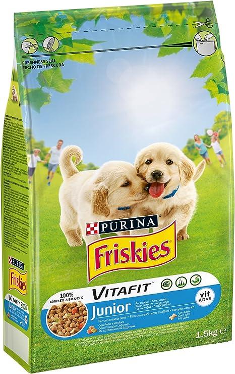 Purina Friskies Vitafit Junior - Pienso para Perro con Pollo y la adición de Leche y Verduras, 1,5 kg