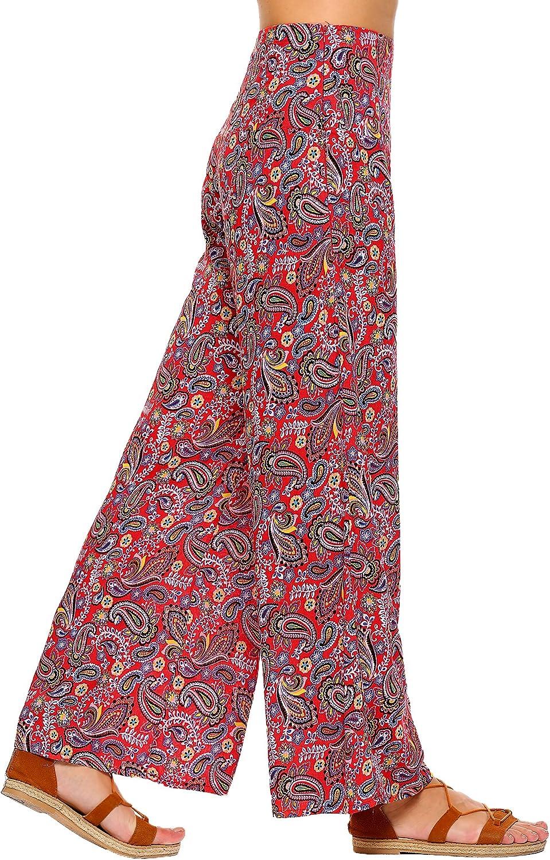 Zeagoo Womens High Waist Wide Leg Printed Palazzo Pants