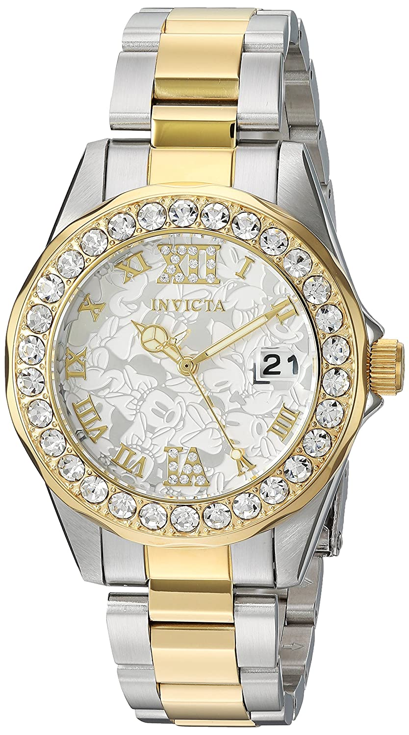 Amazon.com: Invicta Women's 'Disney Limited Edition' Quartz Stainless Steel  Casual Watch, Color Two Tone (Model: 22871): Invicta: Watches