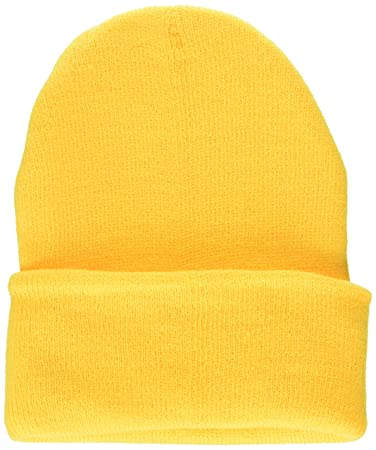 681c48bd157 Amazon.com   Fashion Unisex Solid Color Warm Plain Acrylic Knit Cuff Ski  Beanie Skull Hat Cap Yellow   Beauty