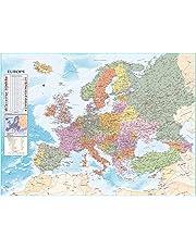Close Up XXL Europakarte Poster mit Flaggen & zahlreichen Infos - Premium Weltkarte Plakat - 135 x 100 cm