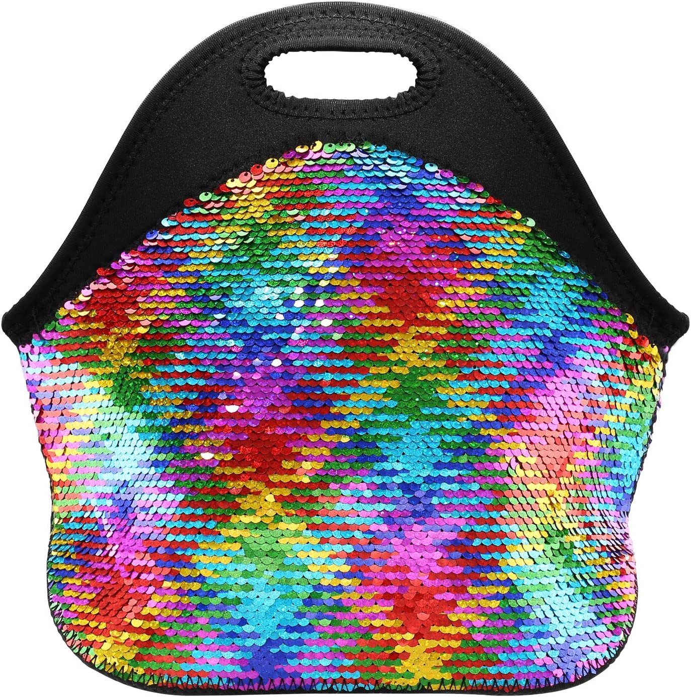 Neoprene Lunch Bags for Women and Girl Reversible Sequins Insulated Lunch Tote Bag with Zipper - FUNLAVIE