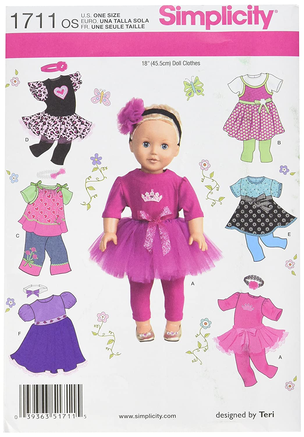 Simplicity button bow boutique sewing pattern 1484 18in dolls simplicity pattern 1711os 18 inch once size doll clothes jeuxipadfo Image collections