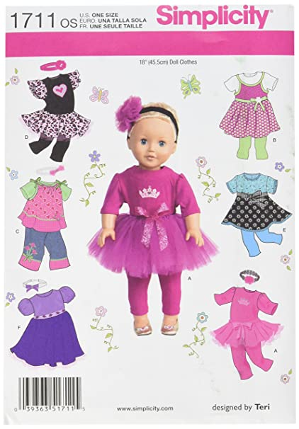 Amazon.com: Simplicity 1711 18-Inch Doll Clothes Sewing Pattern ...