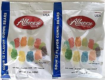Albanese World's Best Sour 12 Flavor Gummi Bears, 7 Ounce Bag (Pack of 2)