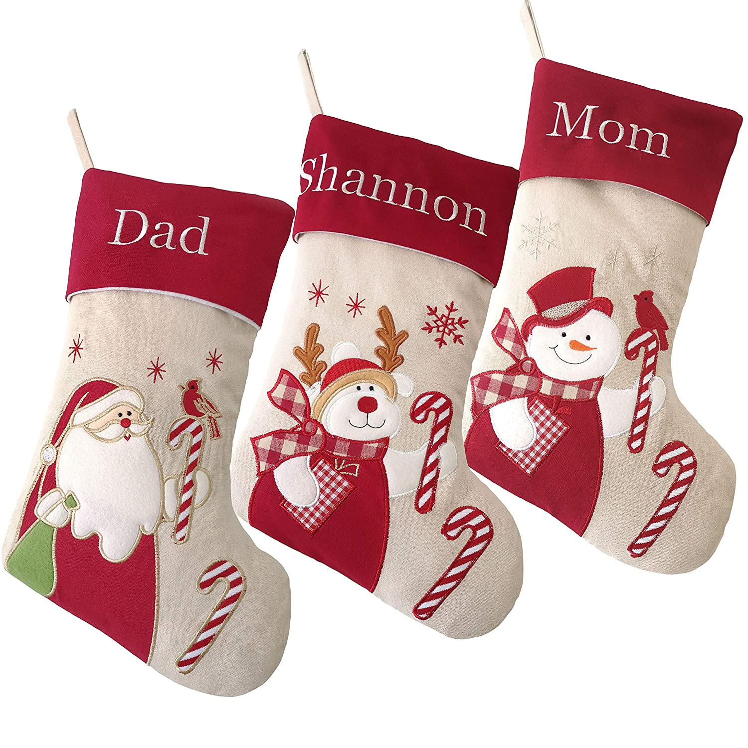 ade83f2687c Amazon.com  WEWILL Personalized Christmas Stockings Home Decoration Gifts  for Family Members