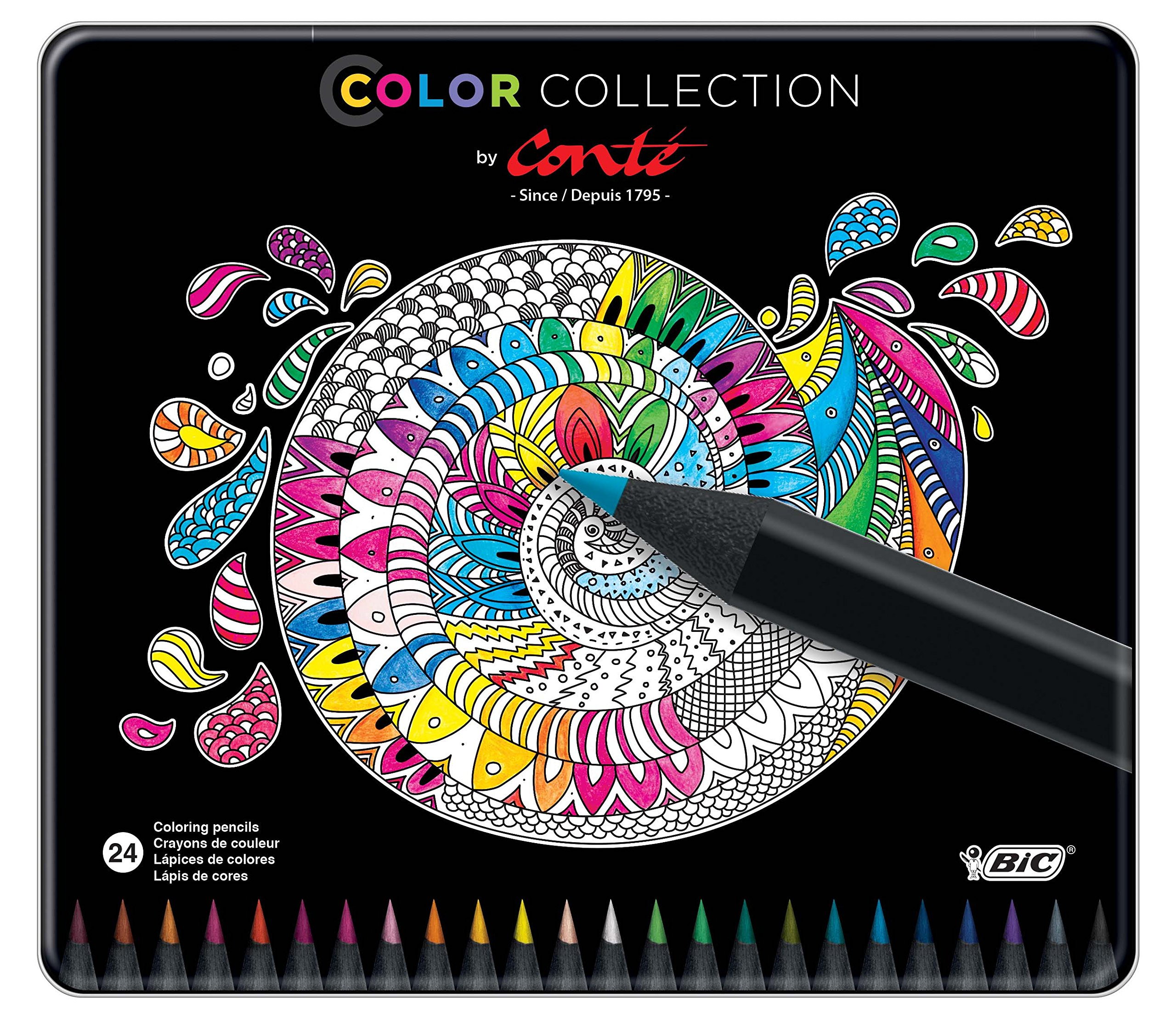 BIC Color Collection by Conte Coloring Pencil, Assorted Colors, 24-Count by BIC