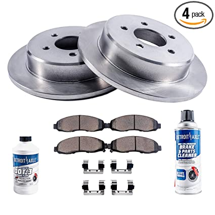 Detroit Axle - Rear Disc Brake Rotors & Ceramic Pads w/Clips Hardware Kit & BRAKE CLEANER & FLUID for 2005-2009 Hyundai Tucson 4WD - [2005-2010 KIA Sportage ...