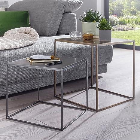 FineBuy 2er Set Design Beistelltisch MATTI Satztisch 2-teilig Sofatisch  Metall | Design Industrie Couchtisch eckig Messing Zink | Loft  Wohnzimmertisch ...