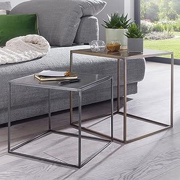 FineBuy 2er Set Design Beistelltisch MATTI Satztisch 2-teilig Sofatisch  Metall   Design Industrie Couchtisch eckig Messing Zink   Loft  Wohnzimmertisch ...