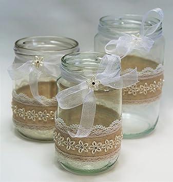 3 Windlichter Vasen Hochzeit Tischdeko Herz Spitze Vintage Taufe Jute Kerzenhalter Td0073