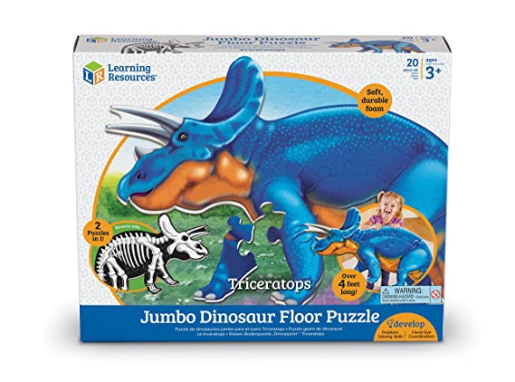Amazon Learning Resources Jumbo Dinosaur Floor Puzzle Triceratops Toys Games