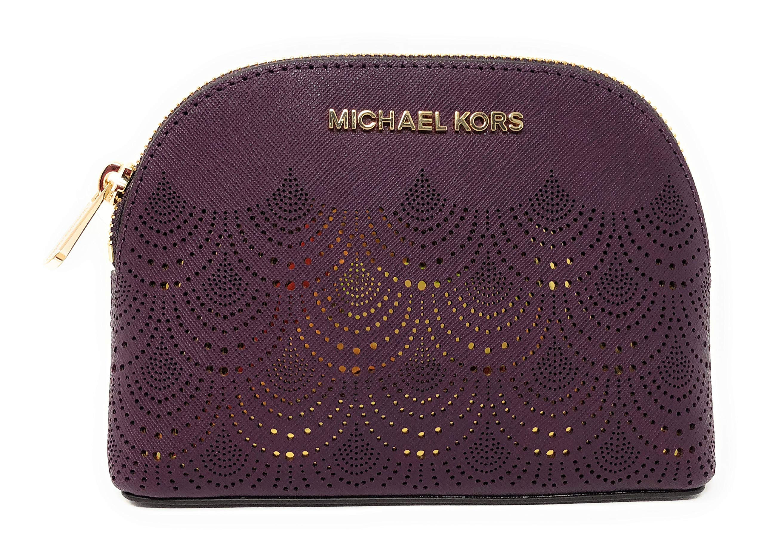 Michael Kors Jet Set Travel Saffiano Leather Lace Cosmetic Travel Pouch in Damson
