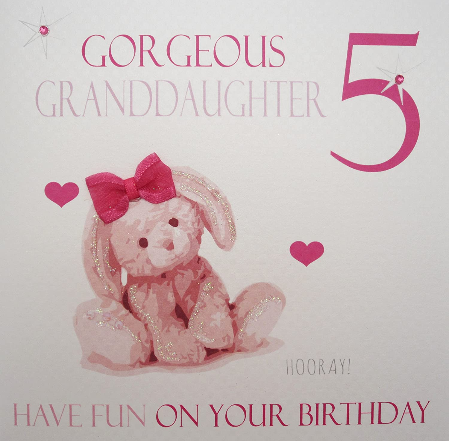 White cotton cards gorgeous granddaughter 5 pink bunny handmade white cotton cards gorgeous granddaughter 5 pink bunny handmade age 5 birthday card amazon kitchen home bookmarktalkfo Image collections