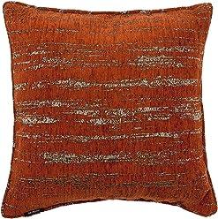 "McAlister Textured Chenille 20"" Decor Pillow Cover | Terracotta Orange Zip 20x20 Throw Cushion Case | Soft Chenille Velvet Linen | Metallic Modern Rustic Accent"