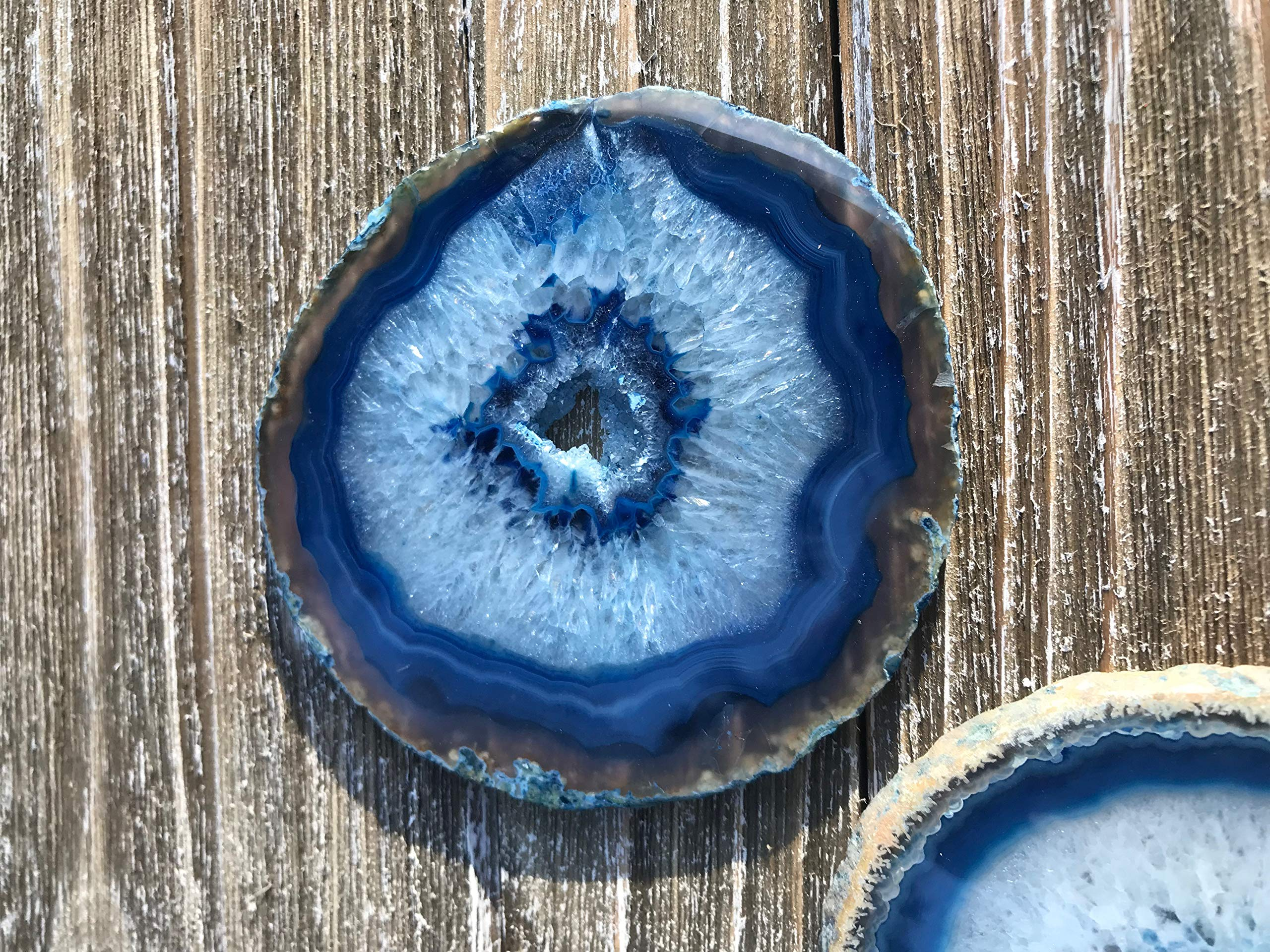 Agate Coasters set of 4 - Blue Colored Agate Coasters - Natural Rim - Bumpers by DashAlexandra