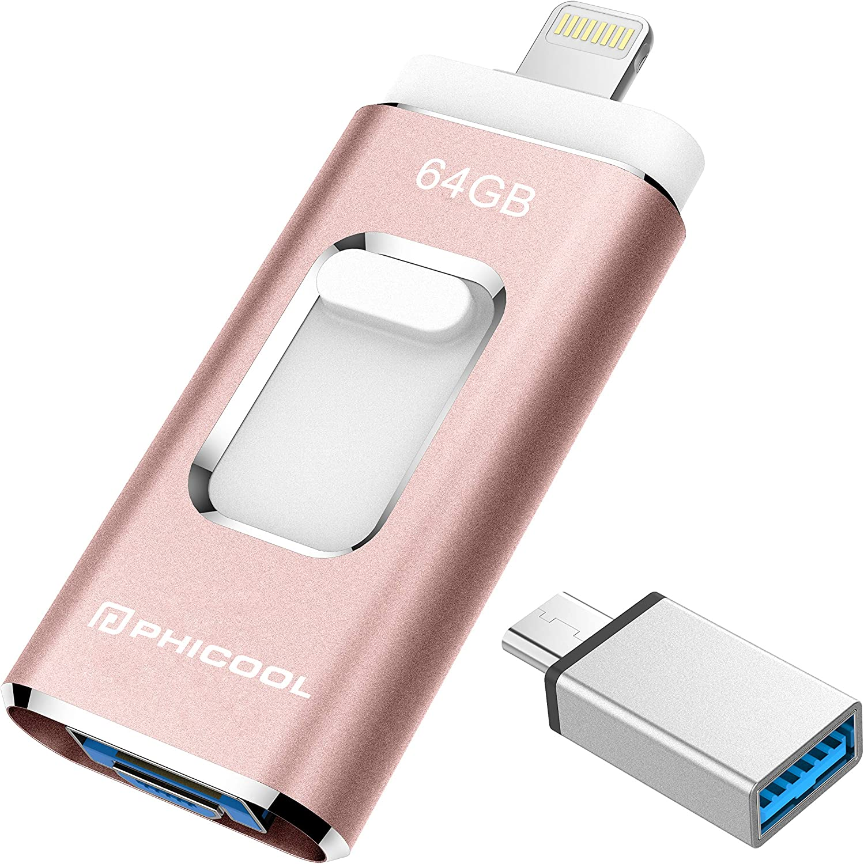 Unidad Memoria Flash USB 3.0 64 GB Memoria Lápiz Drive OTG PHICOOL [4 en 1] con Type C Conector USB Mirco Expansión de Memoria para iPhone, iPad, Android, PC - Rosa