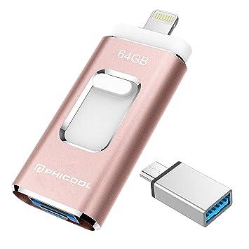 Unidad Memoria Flash USB 3.0 64 GB Memoria Lápiz Drive OTG PHICOOL [4 en 1] con Type C Conector USB Mirco Expansión de Memoria para iPhone, iPad, ...