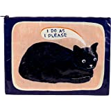 Blue Q Jumbo Pouch, I Do As I Please (cat). Expandable Side Gussets, Chunky Zipper, Made from 95% Recycled Material. Stow Fil