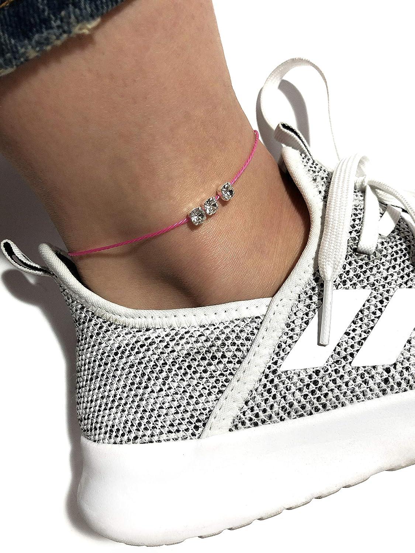 Yana Malanii Simple Black Ankle Bracelet with Rhinestone Pendant