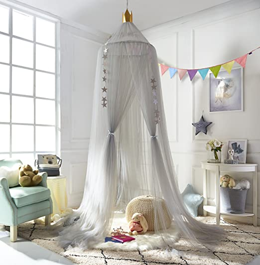 Kids Bed Canopy Mosquito Net,Princess Round Lace Dome Indoor Outdoor Castle Play Tent Hanging House Decoration for Bedding House Decor Reading Corner