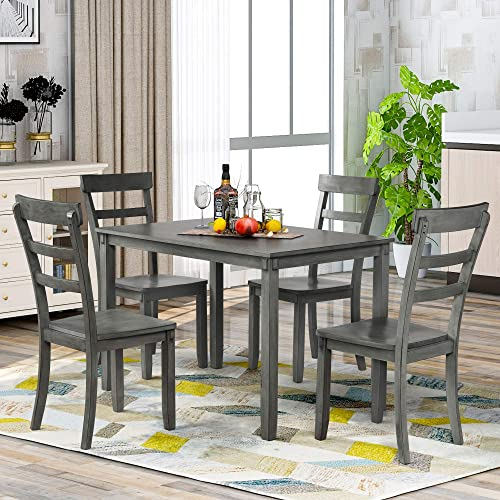 AnSettle 5 PCS Dining Table Set Wooden Dining Room Table and 4 Chairs Breakfast Table Set Retro Style Kitchen Table Set