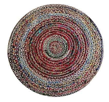 The Home Talk Cotton and Jute Braided Floor Rug, 120 cm Round diamater- Multicolor