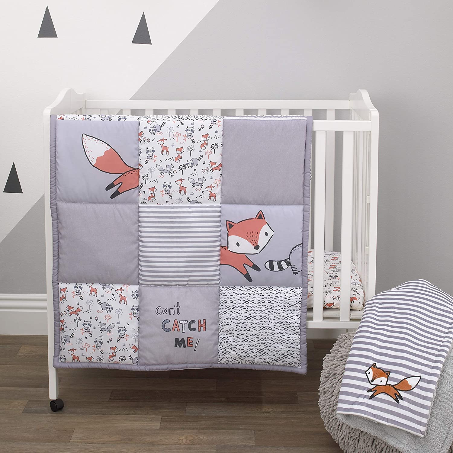 Amazon Com Little Love By Nojo Lil Fox Grey Orange White 3piece Nursery Mini Crib Bedding Set With Comforter 2 Fitted Mini Crib Sheets Orange Grey White Charcoal Baby